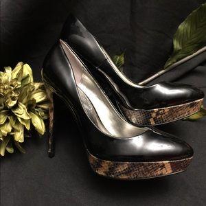 Guess Snake Print/Shiny Black High Heels, Size: 8